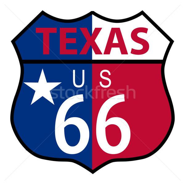Route 66 Texas assinar bandeira sinaleiro branco Foto stock © Bigalbaloo