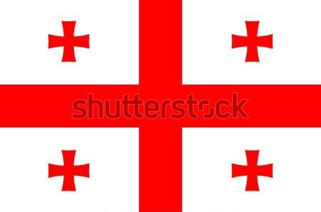 Flag Of The Country Of Georgia Stock photo © Bigalbaloo