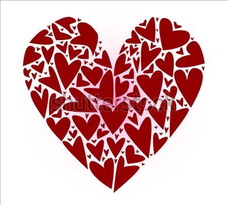 Kırık büyük kalp yukarı birkaç kalpler Stok fotoğraf © Bigalbaloo