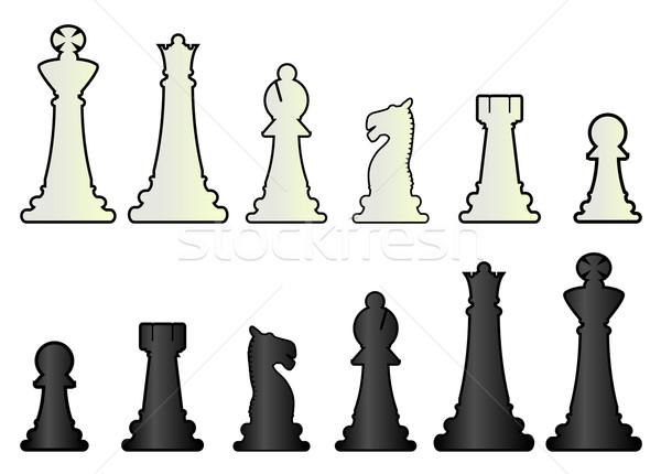 Sakkfigurák mindkettő feketefehér fehér fekete tábla Stock fotó © Bigalbaloo