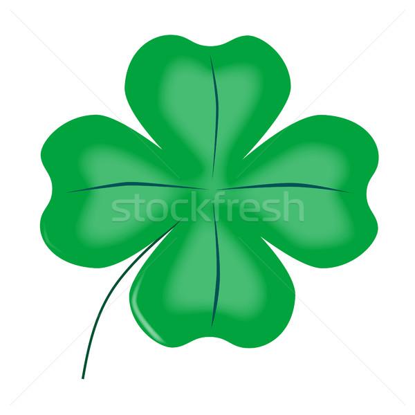 Szerencsés négy levél shamrock zöld ír Stock fotó © Bigalbaloo