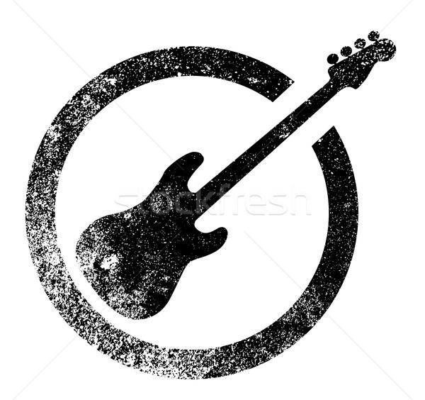 低音 ギター インク スタンプ ゴム 黒 ストックフォト © Bigalbaloo