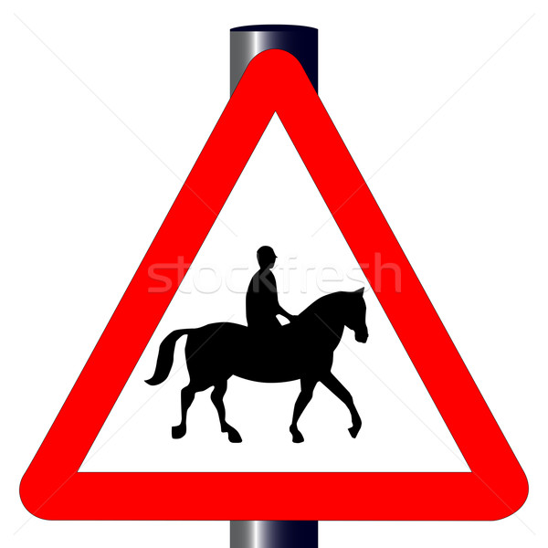 Horse and Rider Traffic Sign Stock photo © Bigalbaloo