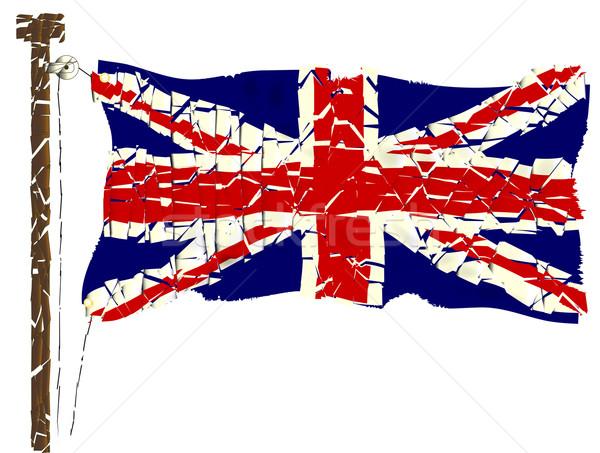 Grunge union jack vlag brits effect Rood Stockfoto © Bigalbaloo
