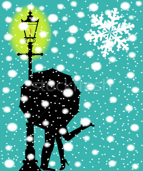 Lamp post In the Snow Stock photo © Bigalbaloo