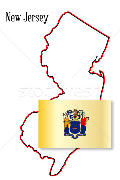 New Jersey State Map and Flag Stock photo © Bigalbaloo