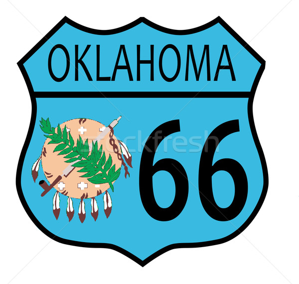 Route 66 Oklahoma teken vlag verkeersbord witte Stockfoto © Bigalbaloo