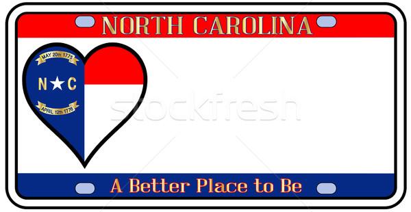 Северная Каролина номерной знак цветами флаг иконки белый Сток-фото © Bigalbaloo