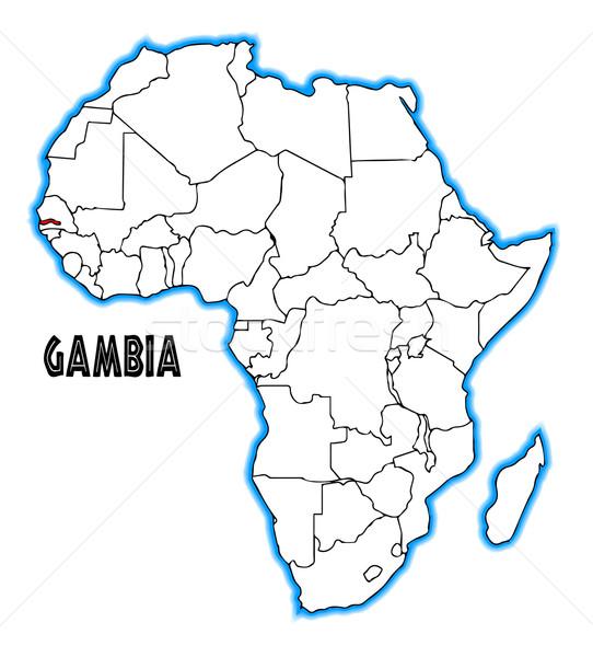 ガンビア 地図 アフリカ 白 黒 ストックフォト © Bigalbaloo
