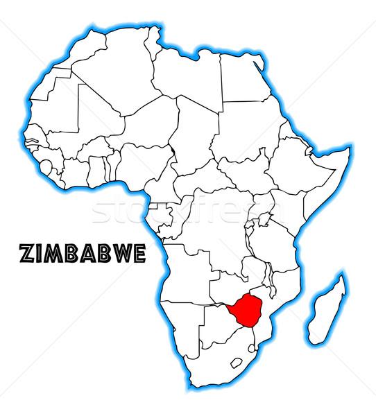 Zimbabwe skicc térkép Afrika fehér fekete Stock fotó © Bigalbaloo