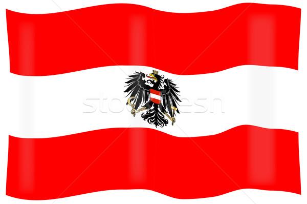 Austrian Flag and Coat of Arms Stock photo © Bigalbaloo