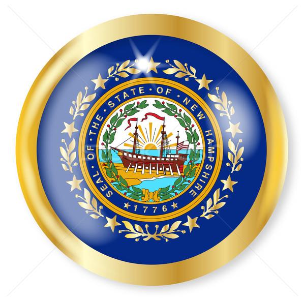 New Hampshire bayrak düğme altın Metal Stok fotoğraf © Bigalbaloo