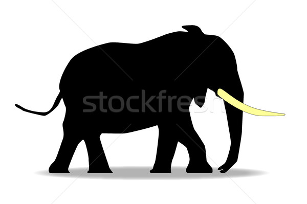 Desenho animado elefante silhueta amarelo presa branco Foto stock © Bigalbaloo