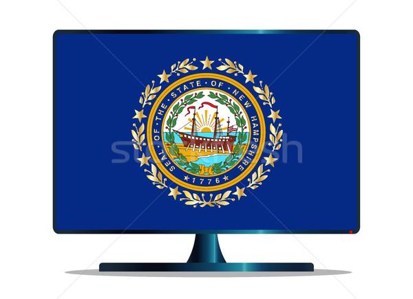Yeni bayrak tv bilgisayar ekranı izlemek mavi Stok fotoğraf © Bigalbaloo