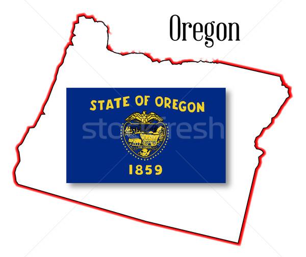 Oregon State Map and Flag Stock photo © Bigalbaloo
