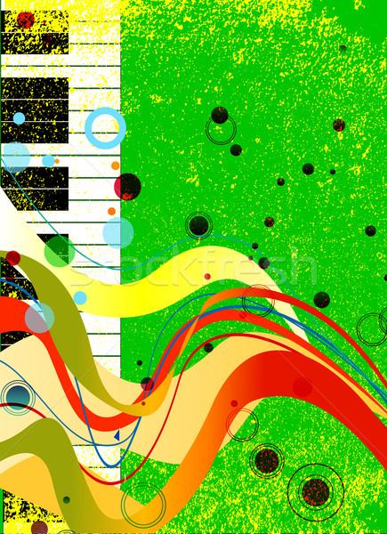 Jazz musical blanco negro teclas de piano establecer grunge Foto stock © Bigalbaloo