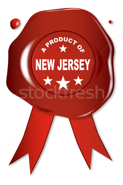 Product New Jersey wax zegel tekst Rood Stockfoto © Bigalbaloo