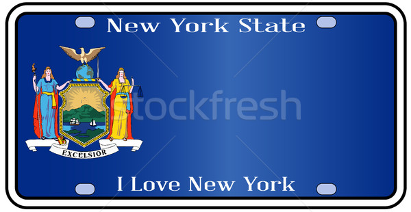 New York State License Plate With Flag Stock photo © Bigalbaloo