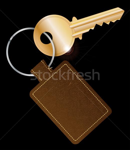 Leather Key Fob With Key Stock photo © Bigalbaloo