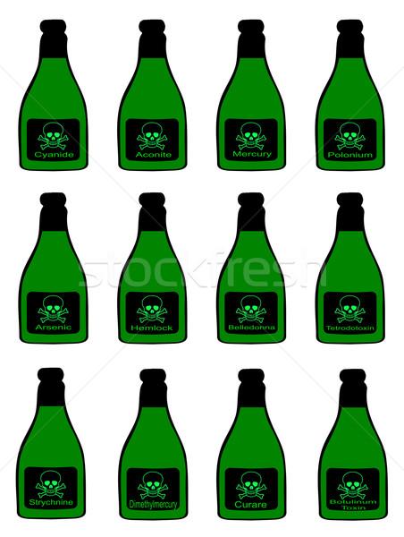 Foto stock: Botellas · tóxico · tradicional · cráneo · arte · verde