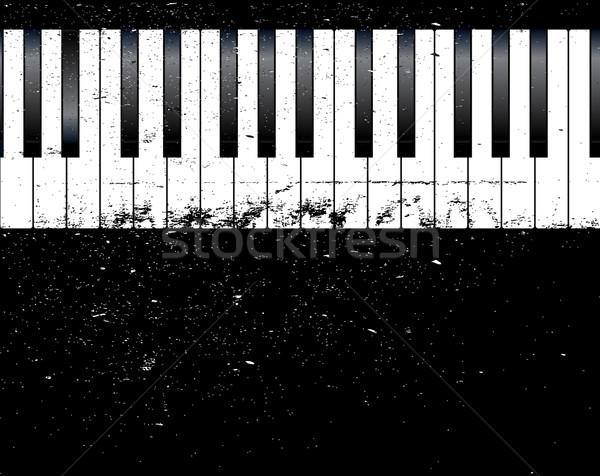 Dzsessz zongora feketefehér zongora billentyűk grunge buli Stock fotó © Bigalbaloo