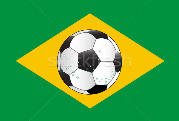 Brasil fútbol bandera fútbol azul oro Foto stock © Bigalbaloo