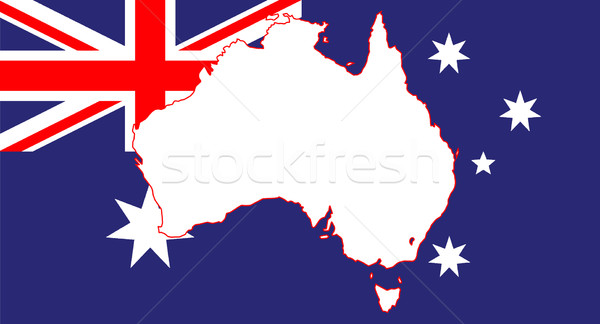 Australia Flag and Map Stock photo © Bigalbaloo