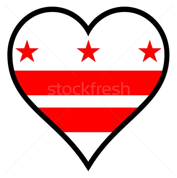 Miłości Washington DC banderą serca biały Zdjęcia stock © Bigalbaloo