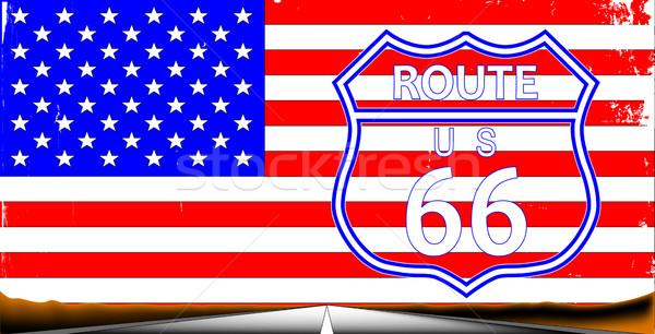 Route 66 bayrak rota altmış altı otoyol işareti Stok fotoğraf © Bigalbaloo