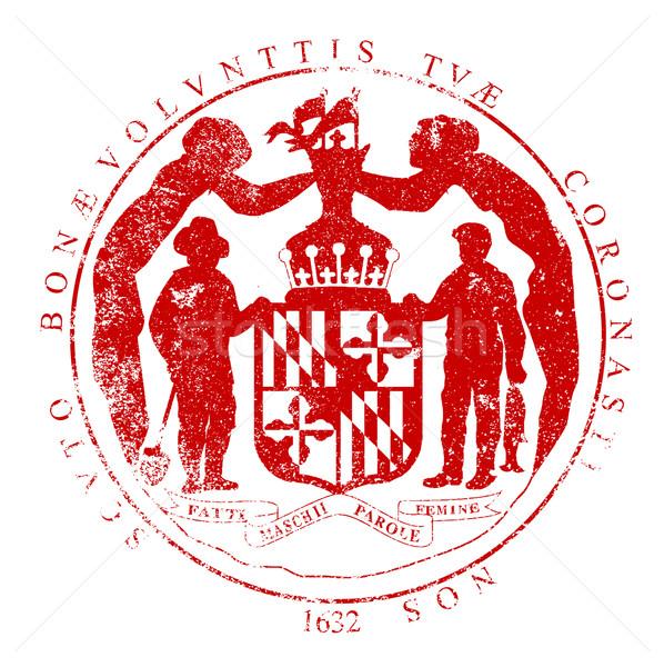 Мэриленд печать белый красный штампа Сток-фото © Bigalbaloo