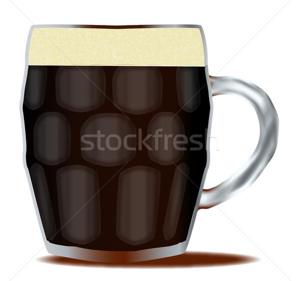 Traditionnel pinte bière verre blanche dessin Photo stock © Bigalbaloo