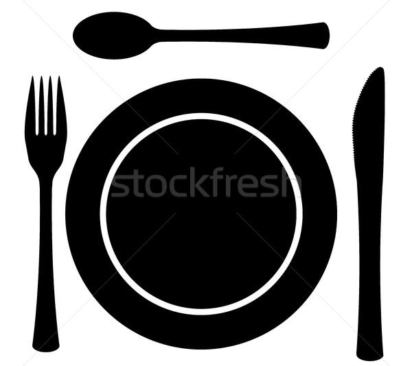 Metal Cutlery Plate Setting Stock photo © Bigalbaloo