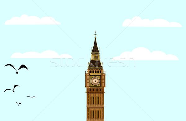 Big Ben azul Londres mojón amanecer cielo azul Foto stock © Bigalbaloo