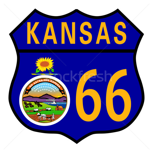 Stock photo: Route 66 Kansas Sign and Flag