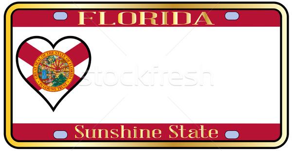 Флорида лицензия номерной знак цветами флаг иконки Сток-фото © Bigalbaloo
