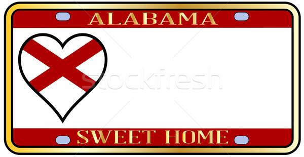 Алабама номерной знак цветами флаг иконки белый Сток-фото © Bigalbaloo