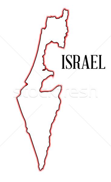Izrael térkép skicc piros fekete művészet Stock fotó © Bigalbaloo