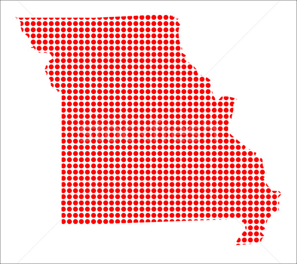 Red Dot Map of Missouri Stock photo © Bigalbaloo