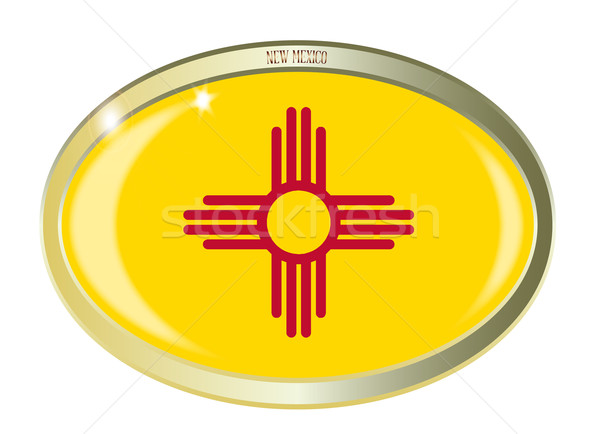 Нью-Мексико флаг овальный кнопки металл изолированный Сток-фото © Bigalbaloo