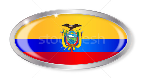 Эквадор флаг овальный кнопки серебро изолированный Сток-фото © Bigalbaloo