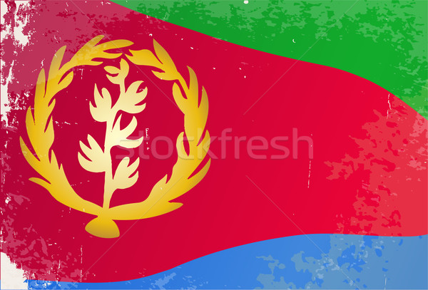 Erytrea banderą grunge Afryki kraju Afryki Zdjęcia stock © Bigalbaloo