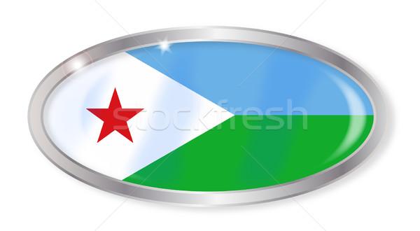 Джибути флаг овальный кнопки серебро изолированный Сток-фото © Bigalbaloo