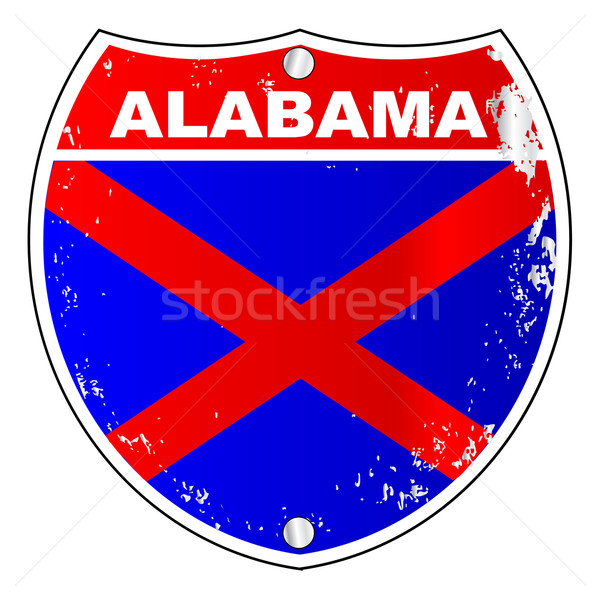 Alabama eyaletler arası imzalamak bayrak çapraz beyaz Stok fotoğraf © Bigalbaloo