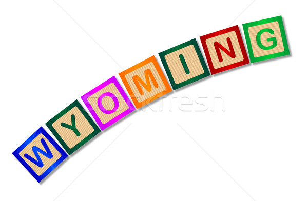 Wyoming Wooden Block Letters Stock photo © Bigalbaloo