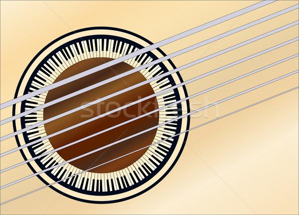 Guitar Piano Soundhole Stock photo © Bigalbaloo