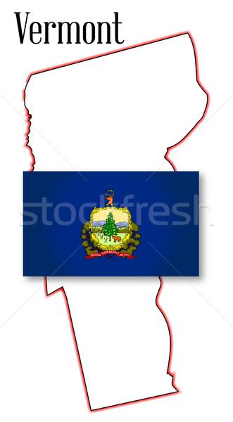 Vermont harita bayrak çizim grafik Stok fotoğraf © Bigalbaloo