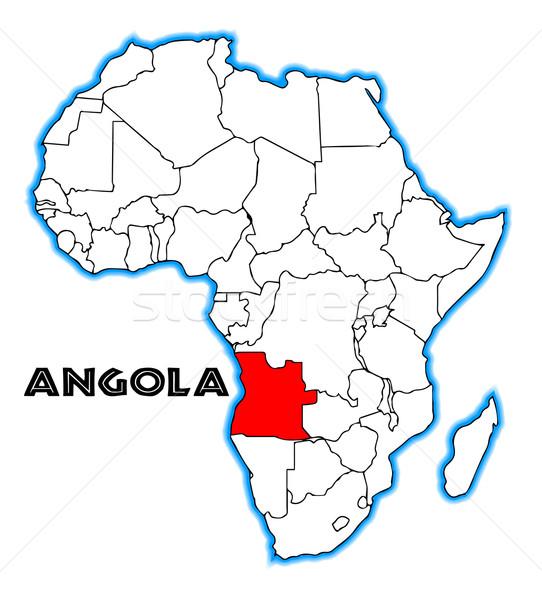 Ангола карта Африка белый красный Сток-фото © Bigalbaloo
