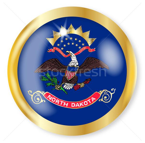Kuzey Dakota bayrak düğme altın Metal Stok fotoğraf © Bigalbaloo