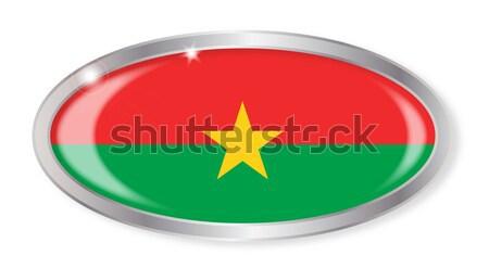 Буркина- флаг овальный кнопки серебро изолированный Сток-фото © Bigalbaloo