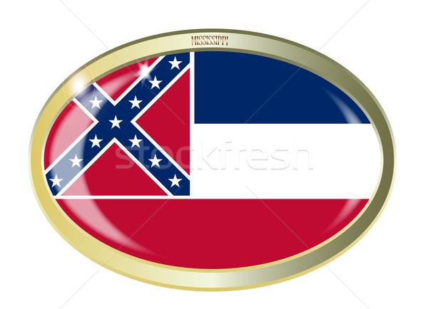 Mississippi zászló ovális gomb fém izolált Stock fotó © Bigalbaloo